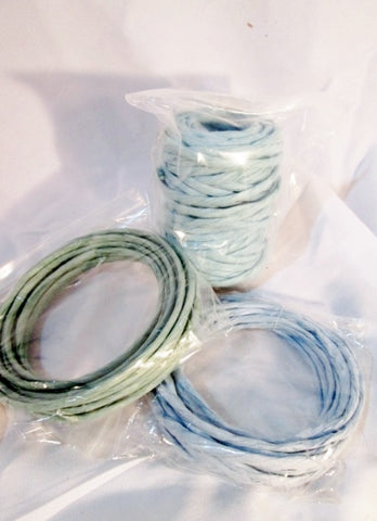 BRAND NEW LOT Set 3 Coils Macrame DIY Craft Cord Paper Straw Rope - POWDER BLUE GREEN SEA