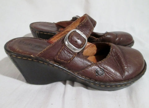 Womens BORN Hand Crafted Leather Clogs Shoes Slip-On Mules Wedge Heel 6 BROWN