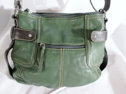 TIGNANELLO Leather Handbag Satchel Tote Shoulder Bag CROSSBODY GREEN M