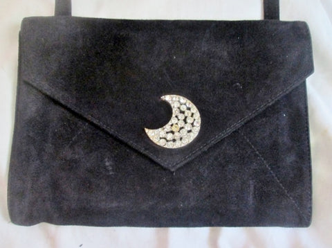 SONIA RYKEL PARIS SUEDE LEATHER shoulder bag flap purse envelope Crossbody BLACK MOON RHINESTONE