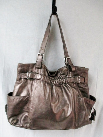KENNETH COLE NEW YORK leather handbag Satchel Tote Carryall GOLD METALLIC L