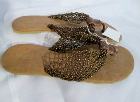 NEW Womens CAPELLI NEW YORK Sandal Flip Flop Thong Slide 8 BROWN Shoe Woven String