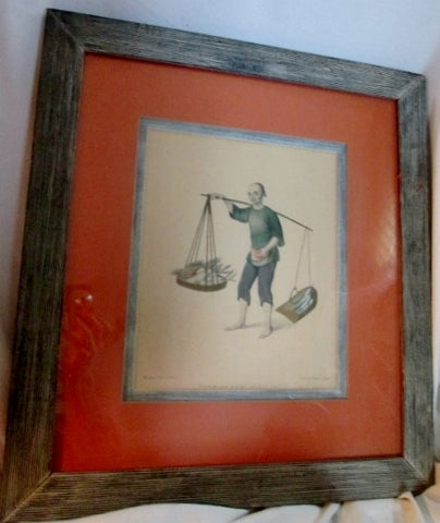 Antique 1779 MILLER LONDON PU-QUA CANTON PRINT Scales CHINESE INDUSTRY SERIES ART Frame Picture