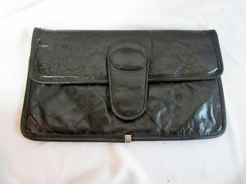 LATINAS ITALY LEATHER clutch evening bag flap purse case pouch BLACK  wallet envelope