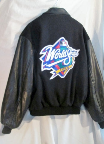 Vtg Mens WORLD SERIES 1999 Baseball VARSITY LETTERMAN JACKET Coat BLACK XL
