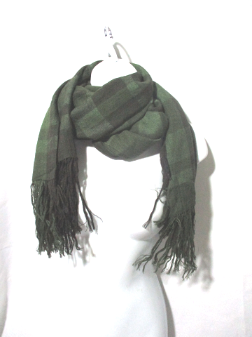 BALMAIN PARIS YAK CASHMERE SILK SCARF BLACK GREEN Plaid Fringe Check
