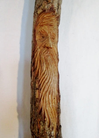 "51"" Hand Carved Wood Wizard Tree Spirit Hearth Broom Folk Art Americana"