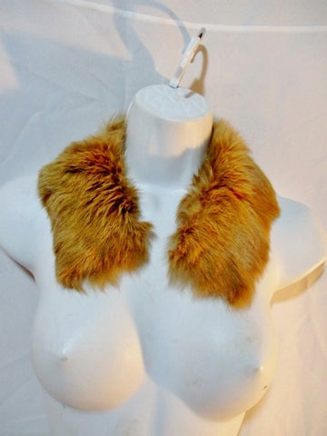 "22"" RABBIT FUR SCARF Boa Neck Warmer Collar LIGHT BROWN Button On"