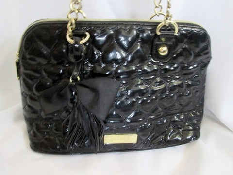 BETSEY JOHNSON Quilted HEART Vegan Satchel Bowler Bag BLACK Fringe Tassel Bow Chianlink