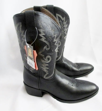 NEW DAN POST CHAPS Leather YOUTH BOOT COWBOY WESTERN RIDING Boots 5.5 BLACK Rocker