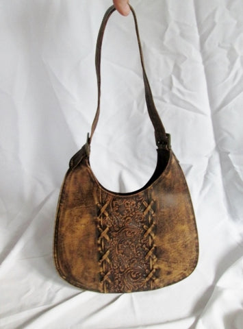 Tooled Stitch FLORAL LEATHER hobo crossbody shoulder bag purse BROWN boho hippy