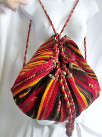 Vtg Latin Rucksack Tote BACKPACK TRAVEL BAG SERAPE BLANKET Bag Striped Wool Daytripper RAINBOW