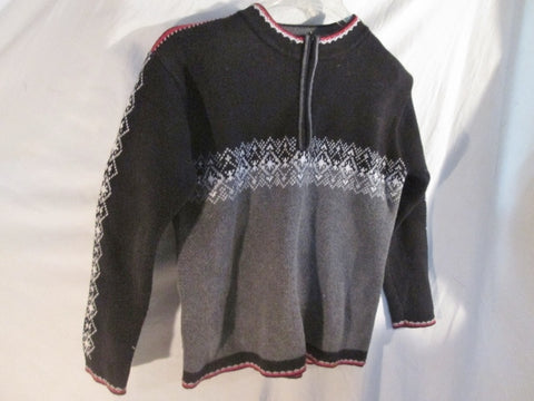 Boys Kids HANNA ANDERSSON Ethnic Nordic Knit Sweater 140 / 10 BLACK GRAY Ski Top
