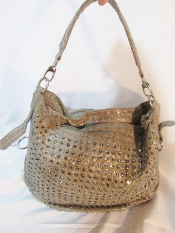 Handmade BLUE ELEGANCE hobo sling shoulder bag  STUD GOLD METALLIC GLITTER slouch