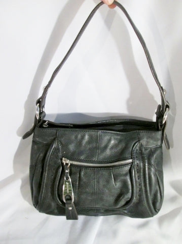 B. MAKOWSKY leather hobo satchel shoulder saddle bag BLACK purse Boho Stitch Hippie