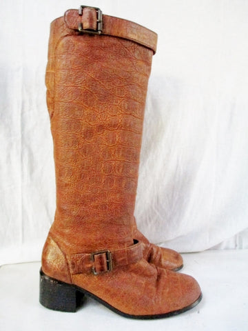 Womens NEWPORT NEWS Faux Alligator Croc Leather Boots Shoes Vegan BROWN 6