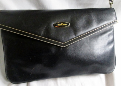 Vintage Handmade ETIENNE AIGNER Envelope Leather Flap bag Shoulder Purse BLACK