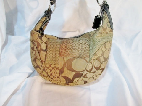 COACH 12315 PATCHWORK Signature C KHAKI JACQUARD Hobo SHOULDER BAG Beige