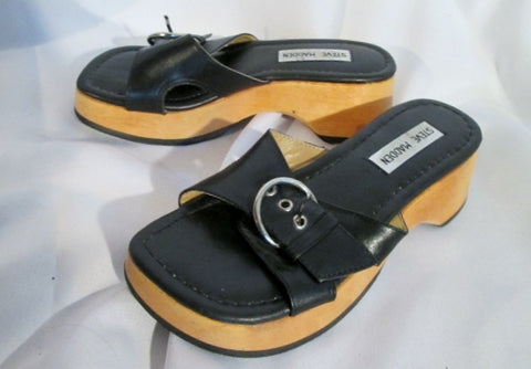 NEW Womens STEVE MADDEN MAKO Leather Shoes Slip On Sandals Thong 5.5 BLACK