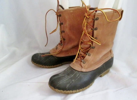 Mens L.L. BEAN BOOTS USA DUCK Rubber Leather Rain Snow Duck BROWN 10 Nubuck