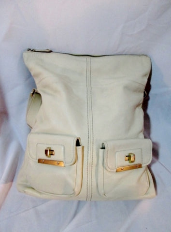 BANANA REPUBLIC Leather Hobo Bag Handbag Pockets WHITE CREME Saddle Satchel