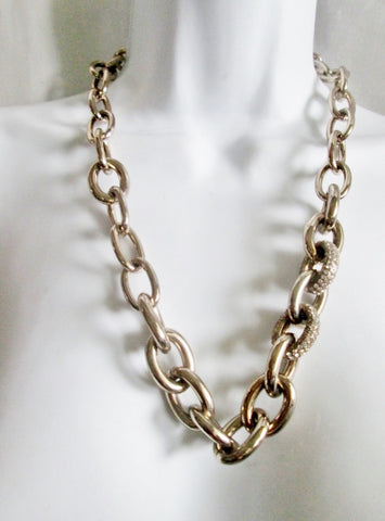 NEW ANN TAYLOR LOFT CHAINLINK RHINESTONE Necklace Statement Chunky LOOP NWT
