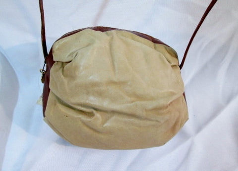 DANIELLE NICOLE Italy Leather Bag Purse Swingpack Crossbody Pouch BEIGE BROWN Shoulder