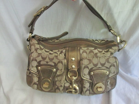 COACH MANDY LEGACY Limited Edition Leather Handbag Satchel Purse GOLD JACQUARD