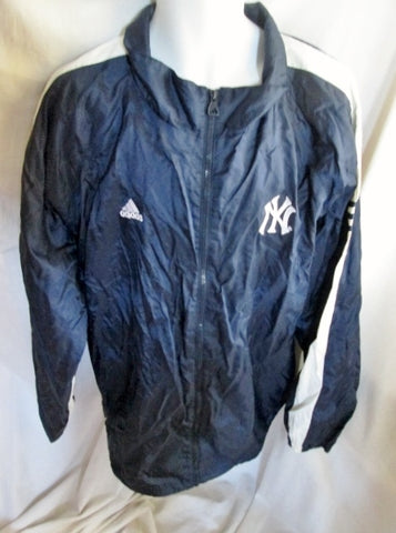 NEW MENS ADIDAS YANKEES Nylon Windbreaker Fitness Running Hoodie Jacket BLUE XXL Parka
