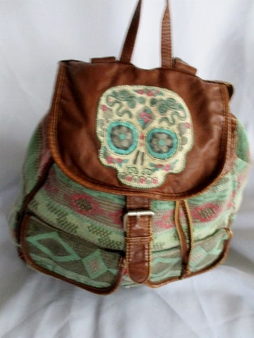 MOSSIMO SUPPLY CO. SKULL BACKPACK Shoulder Rucksack Travel BAG BROWN Vegan