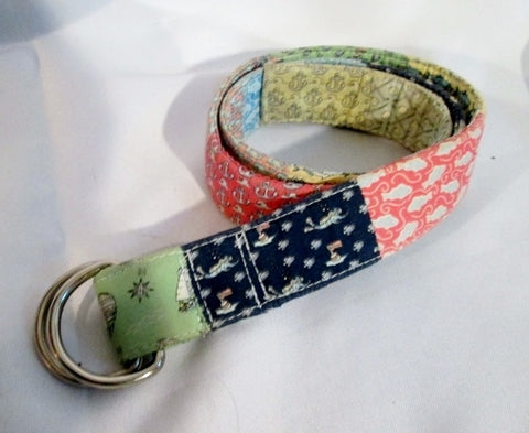 Womens VINEYARD VINES Signature PATCHWORK Cotton Vegan D Ring Belt M Nautical