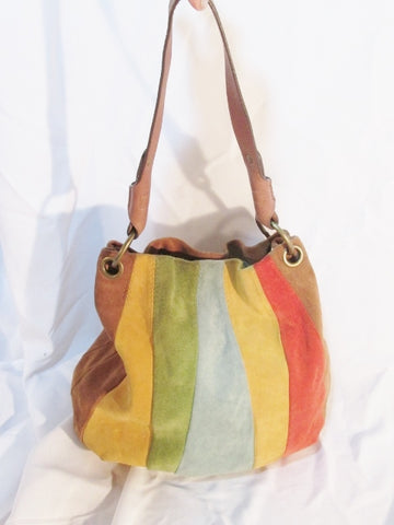 NINE WEST VINTAGE STRIPE PATCHWORK Suede hobo shoulder bag RAINBOW Boho MULTI