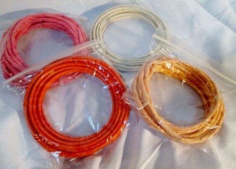 BRAND NEW LOT Set 4 Coils Macrame DIY Craft Cord Paper Straw Rope - PINK ORANGE YELLOW