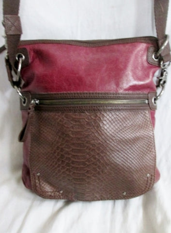 THE SAK PYTHON Snakeskin Leather Hobo Crossbody Bag Sling Messenger PURPLE BROWN
