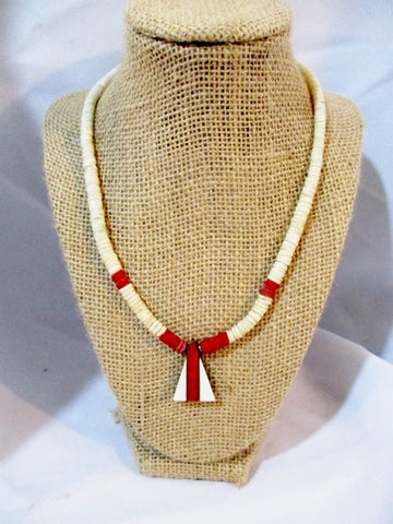 "17"" HEISHI Shell Surfer Necklace Triangle Pendant WHITE TOMATO RED Jewelry Boho"