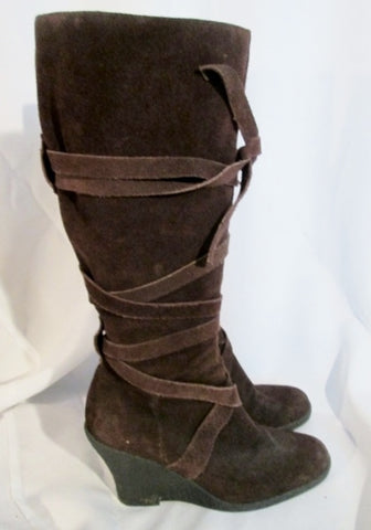 Womens ENZO ANGIOLINI SALIE Criss Cross Knee High Suede Boots BROWN 6.5 Wedge Heel