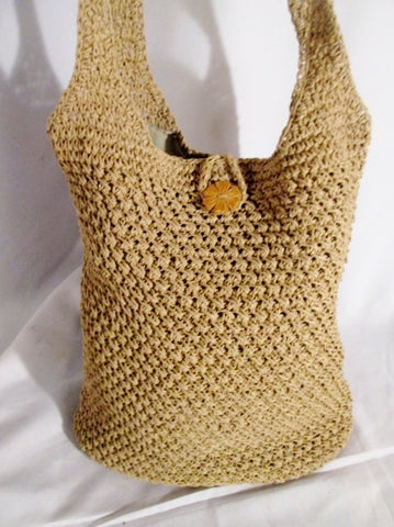 CHARTER CLUB Woven RAFFIA Straw Basket Sling Satchel Shoulder Bag Purse BEIGE