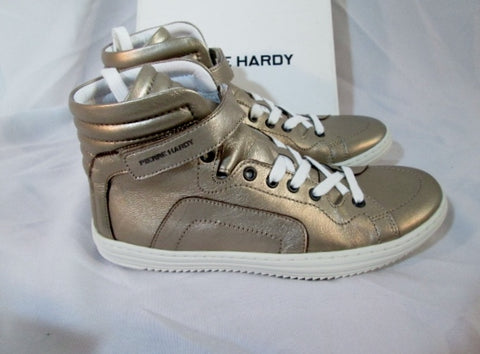 NEW Womens PIERRE HARDY GOLD GRAIN CALF Sneaker TRAINER Shoe 36 6 Sport