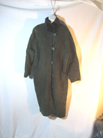 Genuine RAFEL SHEARLING SUEDE Maxi Leather jacket coat GREEN 8 Sheepskin