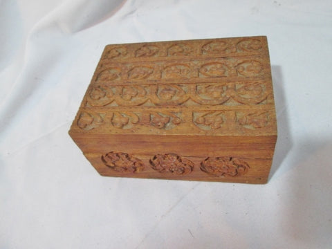 Rustic LIEBER German Ethnic Trinket Carved Wood Jewelry Box Treasure