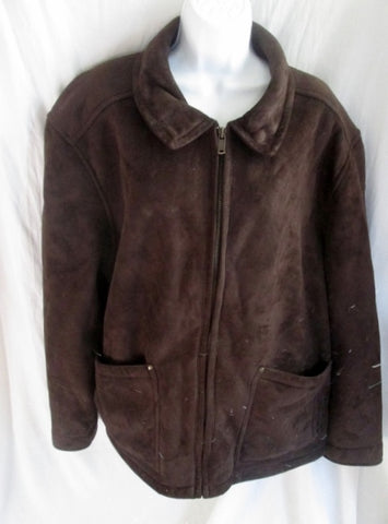 MENS COLUMBIA Lined Winter Jacket Coat Sherpa Pile XXL 2XL DARK BROWN