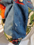 DENIM PATCHWORK Hippie Festival Loop Hoop Handle Vegan Bag Denim BLUE FLORAL Tote