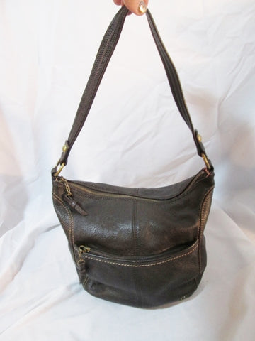 THE SAK Leather Sling Hobo Shoulder Bag Satchel Purse Crossbody BROWN