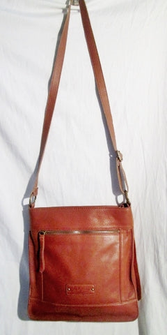 LUCKY BRAND LEATHER STUD Shoulder Bag Crossbody Swingpack Purse BROWN Fringe Tassel
