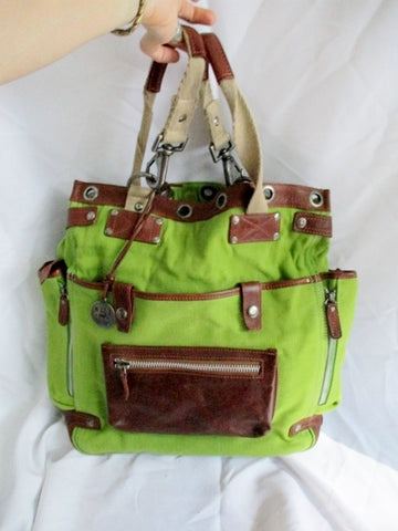 WILL LEATHER GOODS Canvas Messenger Shoulder Cross Body Bag GREEN BROWN