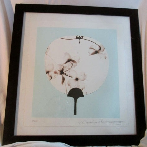 "22"" Signed 2006 LITHOGRAPH Art Print FLORAL FAN ASIAN Home Design BLUE FRAMED"