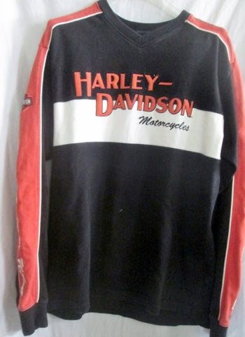 Mens HARLEY DAVIDSON MOTORCYCLES Top Shirt Pullover M BLACK ORANGE HOG