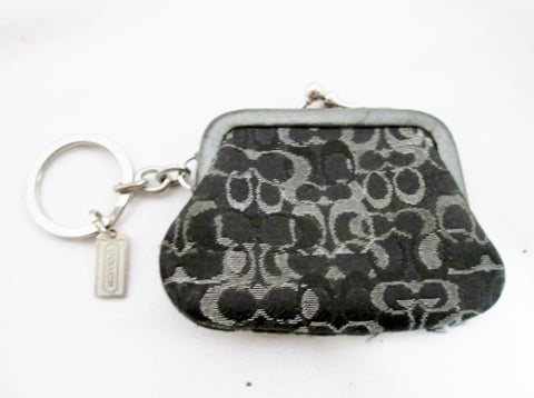 Mini COACH Signature C Coin Clasp Purse Wallet BLACK SILVER Keyring Keychain Jacquard