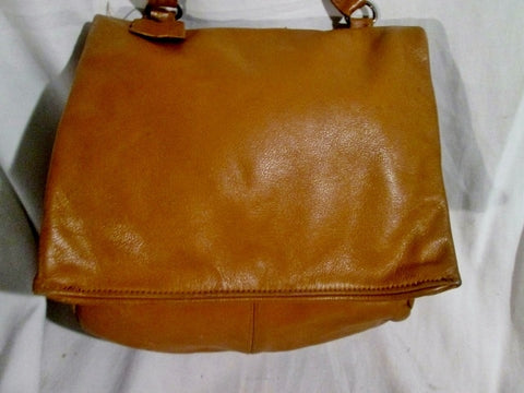 D'AMIGO leather hobo crossbody shoulder flap bag purse COGNAC BROWN boho hippie