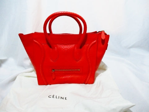 NEW CELINE PARIS MINI LUGGAGE FIRE RED PYTHON Leather Tote Bag NWT